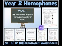 year 2 homophones and near homophones set of 12 differentiated