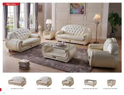Leather Livingroom Furniture Giza Full Leather In Beige Leather Classic 3 Pcs Sets Living