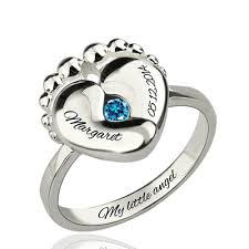 birthstone rings engraved baby birthstone ring sterling silver
