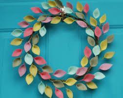 colorful fall wreath with felt leaves modern everyday wreath
