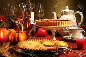 table thanksgiving thanksgiving desserts on a festive table stock photo picture and