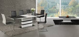 Black Glass White High Gloss Extending Dining Table And  Chairs - Black dining table for 8