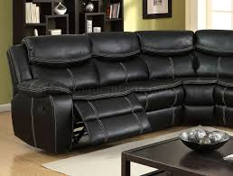 reclining sectional sofa cm6982 in black leatherette
