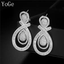 heavy diamond earrings yoge e7154 luxury aaa cubic zirconia big bold heavy drop earrings