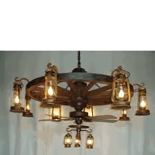 wagon wheel ceiling fan light tier wagon wheel chandelier with old fashioned lanterns and ceiling