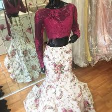stylish 2 piece white mermaid prom dress lace top long sleeves