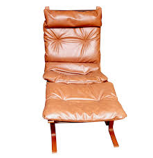 danish modern teak and leather lounge chair and ottoman ebth