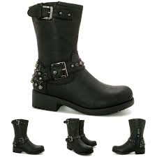 motorcycle boots buckle new womens flat stud buckle calf biker boots size ebay