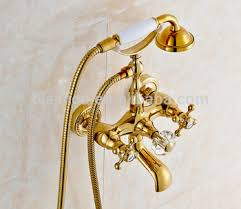 Double Handle Shower Faucet Luxury Brand Telephone Shower Bath Fitting Faucet Set Bath Shower