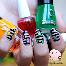 stripey nail art design with glitter orbs tape nail designs