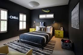 Bedroom Area Rugs Black Walls For Teenage Boy Bedroom Paired With Yellow Nightstands