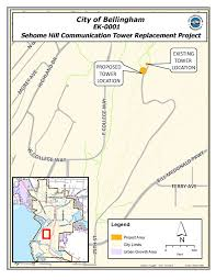 Bellingham Washington Map by Sehome Hill Communications Tower Replacement
