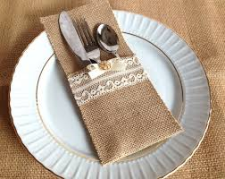 wedding silverware 10 burlap and lace rustic silverware holder wedding bridal