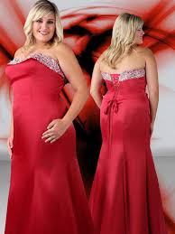red plus size evening dress for women beaded stain mermaid formal