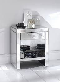 Venetian Mirrored Bedroom Furniture Small Square Venetian Mirrored Bedside Table With Bookshelf