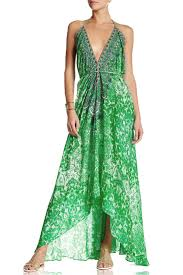 printed embellished emerald green bohemian backless silk maxi