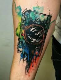 boat sea sunrise watercolor tattoo on arm diy watercolor