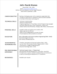 Best One Page Resume by Example Of One Page Resume Resume Examples 2017