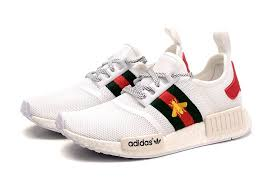 adidas x gucci cheap men s women s adidas nmd r1 x gucci bee w shoes white green