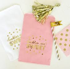 pink favor bags babies are sweet gold foil candy buffet bags set of 12