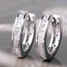 small white gold hoop earrings white gold filled princess white attractive huggie earring
