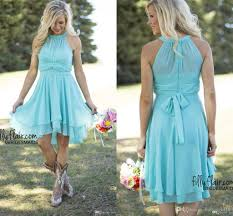 2017 new light blue country bridesmaid dresses short cheap jewel