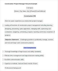 Construction Project Manager Resume Example by Free Manager Resume Templates 40 Free Word Pdf Documents