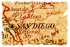 San Diego California Map by San Diego California On An Old Torn Map From 1949 Isolated