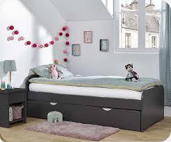 lit chambre enfant enfant gigogne twist gris anthracite 90x190 cm