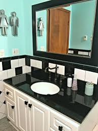 Teal Bathroom Pictures by Retro Black White And Teal Bathroom Makeover On A Budget The