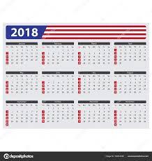 Kalendář 2018 Svátky Kalendář Usa 2018 Státní Svátky Stock Vektor Epapijon 164514330
