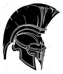 an illustration of a spartan or trojan warrior or gladiator helmet