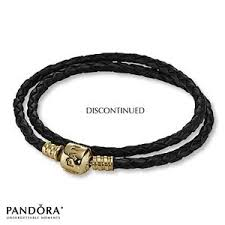 gold clasp leather bracelet images Pandora black leather bracelet 14k gold clasp 41cm 16 1 jpg