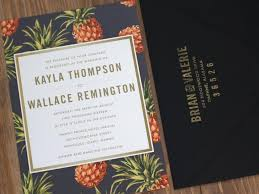 wedding invitations island destination wedding invitation black yellow pineapple vintage