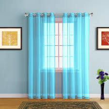 warm home designs faux linen aqua blue sheer curtains with