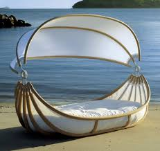 Nautical Patio Decor by Outdoor Round Rattan Hanging Chair Brown Finish Black Seat Cushion
