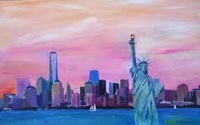 new york painting new york city manhattan skyline with downtown world trade center one