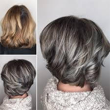 how to blend in gray hair with brown hair makeover gray blending asymmetrical bob hair color modern salon