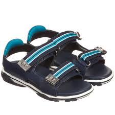 young versace boys navy blue leather sandals childrensalon