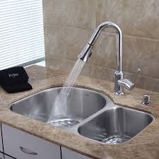decorating silver lowes kitchen faucet with double sink and