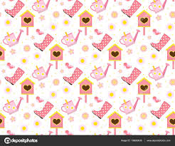 spring seamless pattern with birds and starling house birdhouse