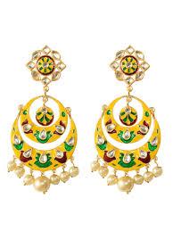 chandbali earrings online buy yellow kundan chandbali earrings by label amara at jivaana