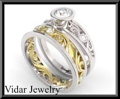 gold wedding set white and yellow gold wedding ring set vidar jewelry unique