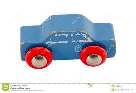 wooden blue vintage toy car isolated on white stock photo image