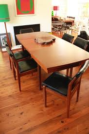 wrightbilt teak dining table and six chairs mid century by