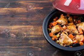 tagine with cooked chicken and vegetables traditional moroccan