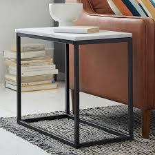 west elm marble coffee table box frame narrow side table marble antique bronze narrow side