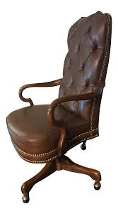 tufted leather desk chair deep tufted glove leather studded high back office chair traditional