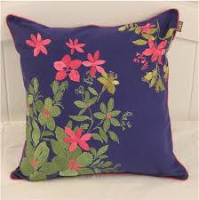 flower embroidered throw pillows blue sofa cushions for sale