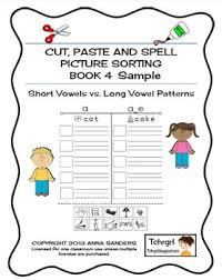 cut and paste u0026 spell phonics picture sorting worksheets long
